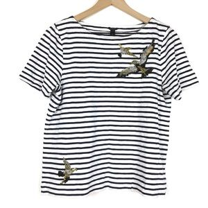 J. Crew Women Top Shirt M Stripe Sequin Birds Navy